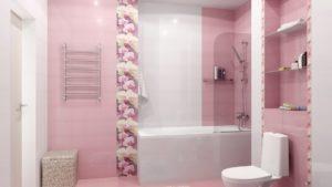 Розовая керамическая плитка: красивые идеи в интерьере