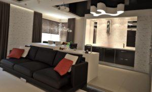 Дизайн кухни-гостиной размером 19 кв. м