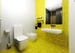 Желтая плитка для ванной: плюсы и минусы