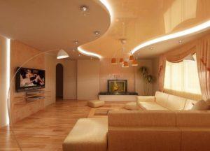Двухуровневые натяжные потолки в интерьере: особенности конструкций