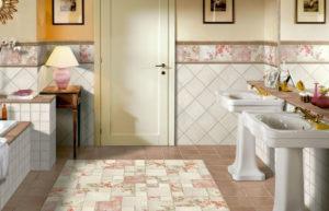 Плитка в разных стилях для ванной комнаты