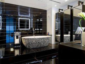 Черная плитка в интерьере современной квартиры