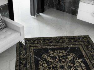Красивые покрытия для пола: плитка в виде панно в интерьере
