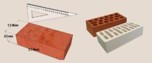 Вес облицовочного кирпича размером 250х120х65