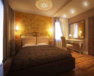 Интерьер спальни в теплых тонах