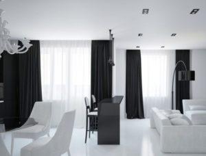 Черно-белые шторы: играем на контрастах