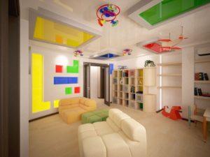 Варианты оформления потолка из гипсокартона в детской комнате