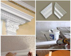 Как клеить плинтуса на потолок?