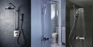 Разновидности душевых стоек со смесителем и верхним душем