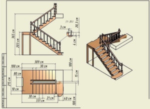 П-образная лестница: виды, расчет и изготовление