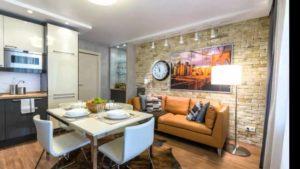 Проектирование и дизайн кухни-гостиной размером 17 кв. м