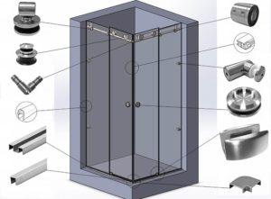 Правила выбора фурнитуры для душевых кабин из стекла