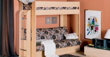 Выбираем двухъярусную кровать с диваном