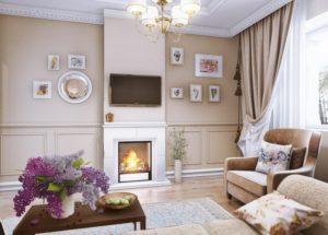 Оформление гостиной с камином в стиле прованс