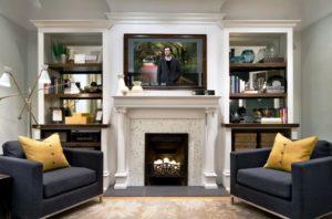 Телевизор над камином в дизайне интерьера