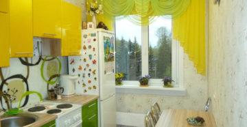 Кухня в хрущевке: размеры, выбор штор и мебели
