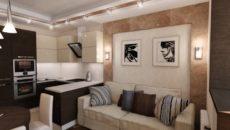Кухни-гостиные с диваном: планировка, дизайн и меблировка
