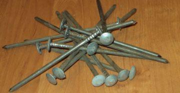 Шиферные гвозди: разновидности, размеры и вес
