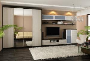 Мебельные стенки со шкафом для одежды в интерьере