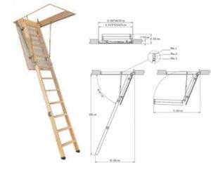 Разновидности и размеры чердачных лестниц
