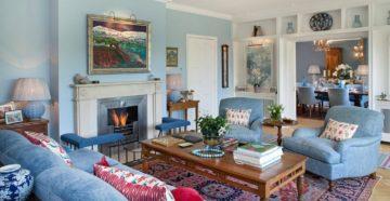 Тонкости оформления гостиной в голубых тонах