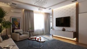 Как оформить стену с телевизором в гостиной?