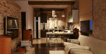 Особенности оформления кухни-гостиной в стиле лофт