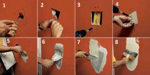 Как заделать дыру в гипсокартоне на стене?