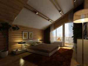 Проекты домов из бруса с мансардой: модный интерьер на все времена