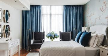 Голубые шторы в интерьере: выбираем оттенок и дизайн