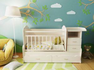 Кроватки для новорожденных с комодом: разновидности форм и размеров, советы по выбору