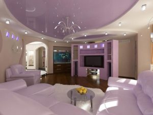 Натяжные потолки для зала: красивый дизайн гостиной