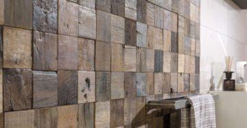 Деревянная мозаика в интерьере