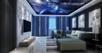 Натяжной потолок Звездное небо в интерьере