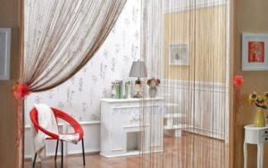 Нитяные шторы: типы, тонкости выбора, оформление в комнате