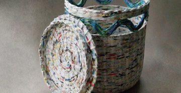 Как сплести корзину для белья из газетных трубочек?